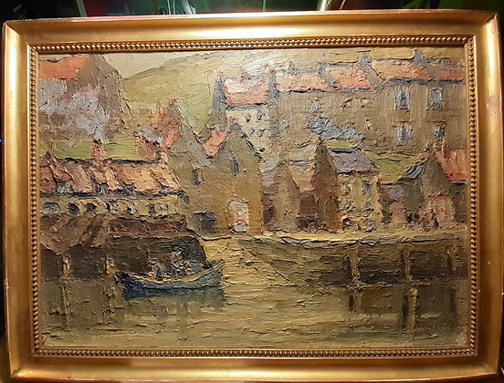 19th C Acrylic on Board 'old House of Whitby' J.W. Fowler 1868-1949