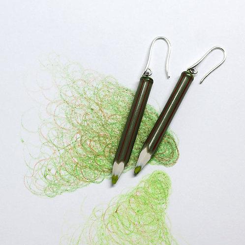 Серьги Карандашики серо-зеленые