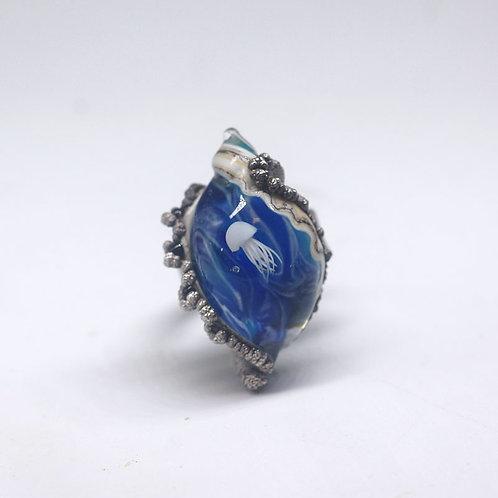 """Кольцо """" Медузка в синей воде"""""""