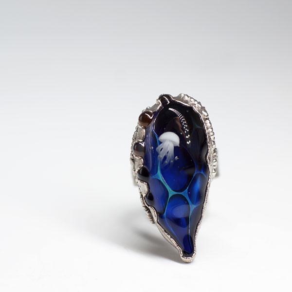 Кольцо морская синь