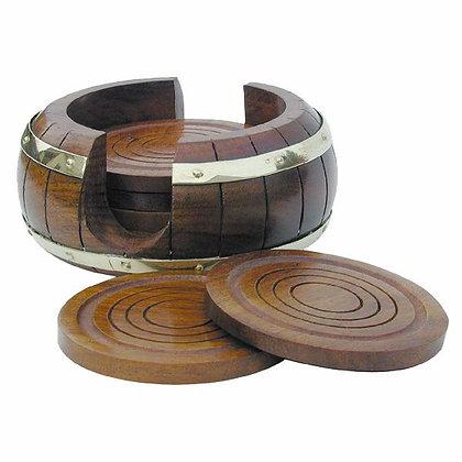 6 Untersetzer mit Ständer im Fassdesign - Ø 13cm