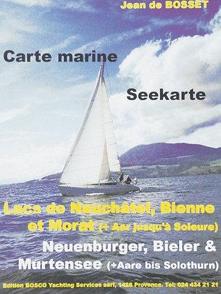Seekarte Bieler, Neuenburger + Murtensee 1 : 38500