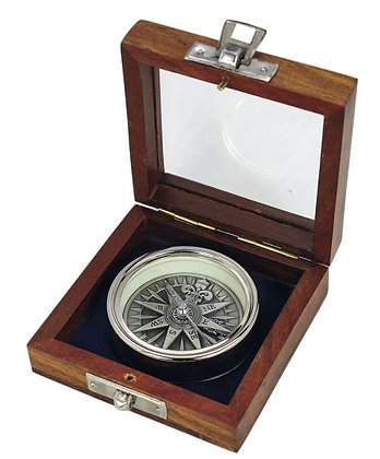 Kompass, 3D, verchromt, Ø: 5,5cm, H: 1,4cm, in der Holzbox