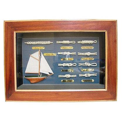 Knotentafel hinter Glas / 36cm x 26cm / Knotennamen Englisch