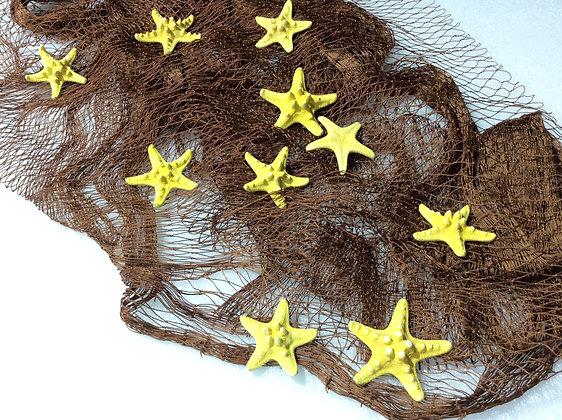 Fischernetz echt braun 4m x 3m + 10 Seesterne gelb