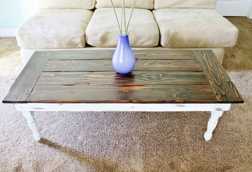 made to order farmhouse coffee table - turned legs | midwest farm