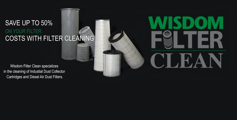 Wisdom Filter Clean, cleans Diesel Air & Industrial Baghouse  Filters