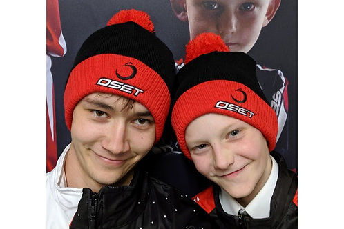 OSET bobble hat, black & red