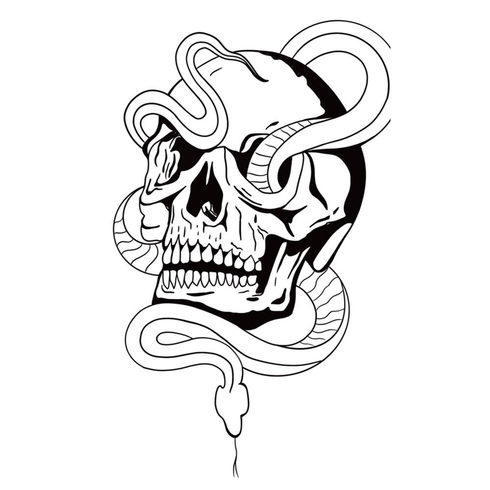 Blackwork Snake and Skull