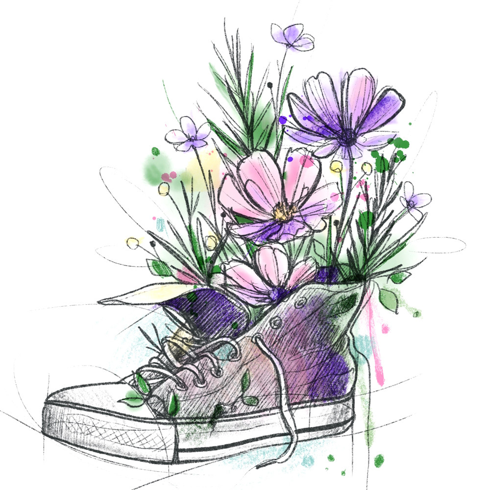 Shoe and Wildflowers