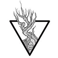Blackwork Tree in Triangle