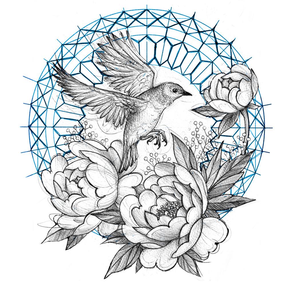 Bird and Peonies