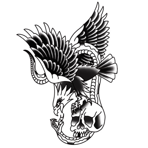American Traditional Eagle and Skull