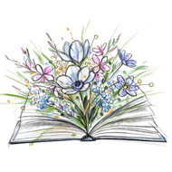 Book and Wildflowers