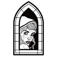 Blackwork Lady in Window