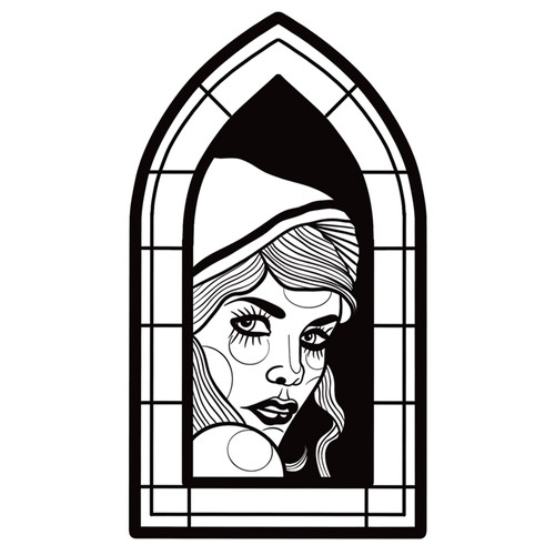 Blackwork Lady in Window