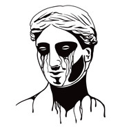Blackwork Crying Statue