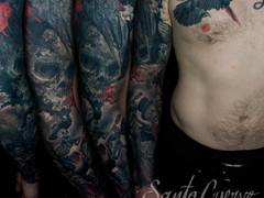 Crows, roses and skulls sleeve