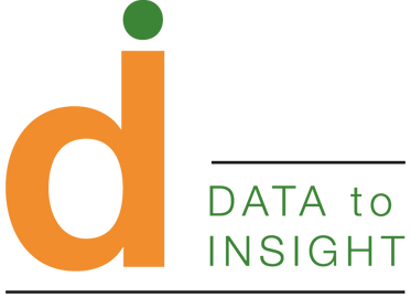 """The """"Data to Insight"""" logo - an orange D topped with a green dot, alongside the words """"Data to Insight"""""""