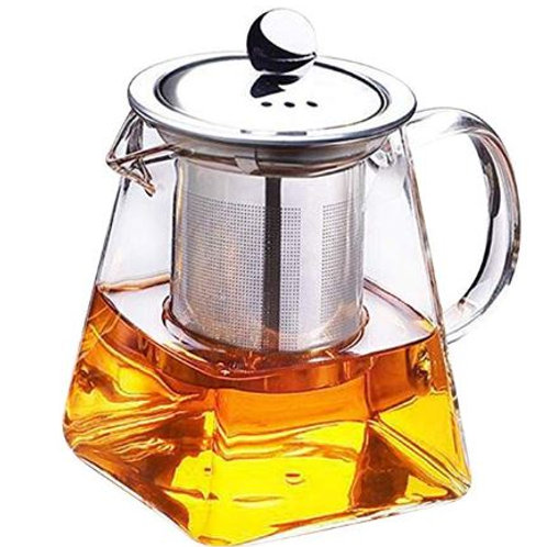 Glass Teapot with Stainless Steel Strainer Filter Infuser Tea Pot 350ml