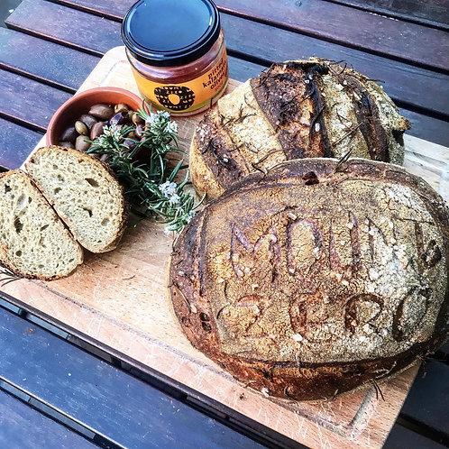 French Artisan Rye Organic Mount Zero Olives Rosemary Sourdough