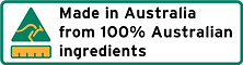 Made in Australa from 100% Australian ingredients
