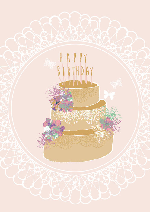A Huge Birthday Cake Dotted With Pretty Bright Flowers HAPPY BIRTHDAY Candles On Top Butterflies And Doily Pattern Surround The Scene