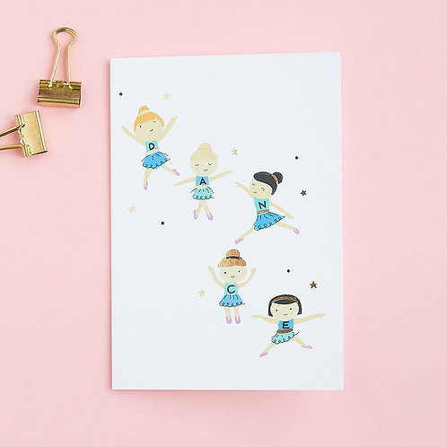 Party Ballerinas - Birthday Card, Celebration Card, Dance Card