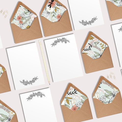 Boxed set of 10 lined envelopes with matching writing paper, floral envelopes