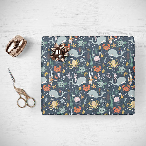 Kids whale wrapping paper, sealife gift wrap, kids birthday gift wrap