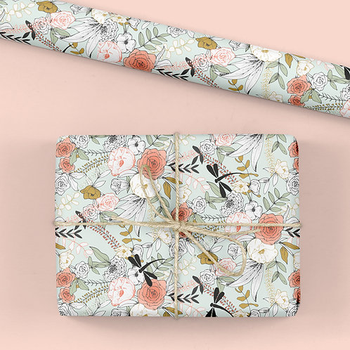 Floral Wrapping Paper / Gift Wrap - Tabitha's Garden - Dragonfly