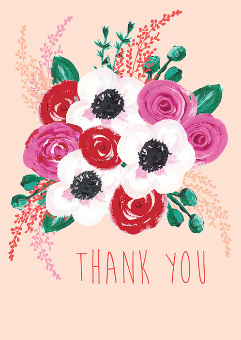 pretty floral thank you card hand painted floral thank you card