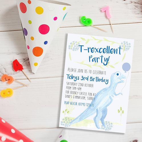 Personalised blue dinosaur birthday invite