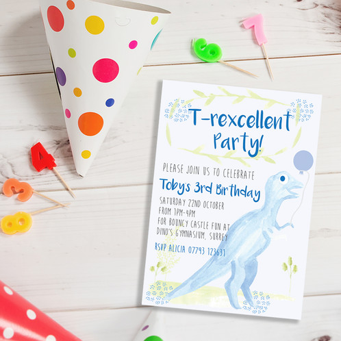 T Rex Dinosaur Personalised Birthday Party Invitations
