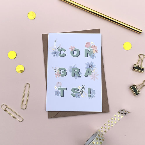 6 CONGRATS - Congratulations Card, Wedding Card, Engagement Card, Celebrat