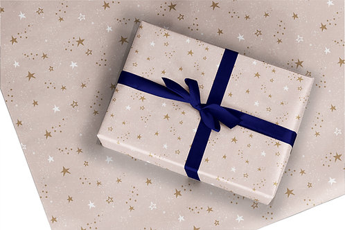 Christmas Wrapping Paper / Gift Wrap - Starry Night - Blush