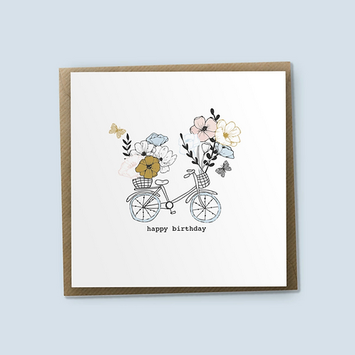 Flowers For Your Basket - Happy Birthday Card, Bike Card, Bike Birthday Card