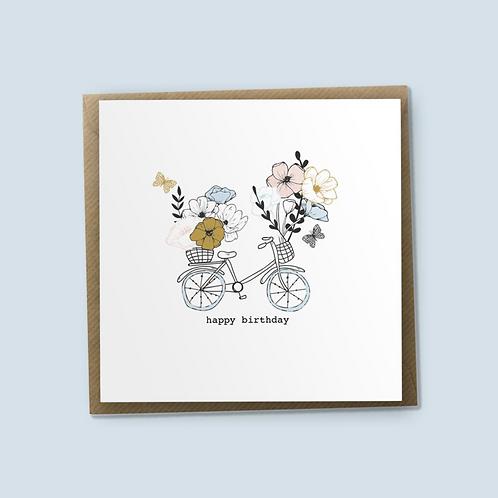 6 Flowers For Your Basket - Happy Birthday Card, Bike Card, Bike Birthday