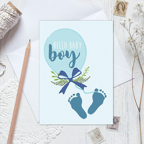 New baby card, baby announcement, baby boy announcement, new baby boy card