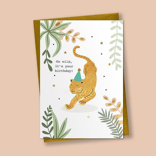 Party Tiger - Birthday Card, Celebration Card