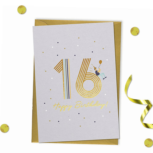 16 - Happy birthday Card, 16th birthday card