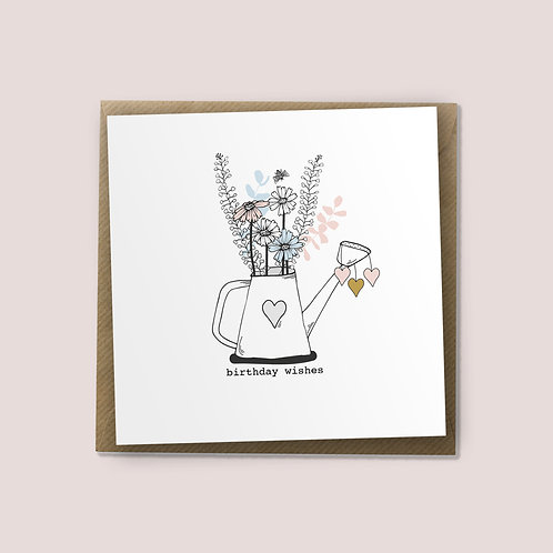 Watering Can Flowers - Birthday Card, Birthday Wishes, Happy Birthday Card