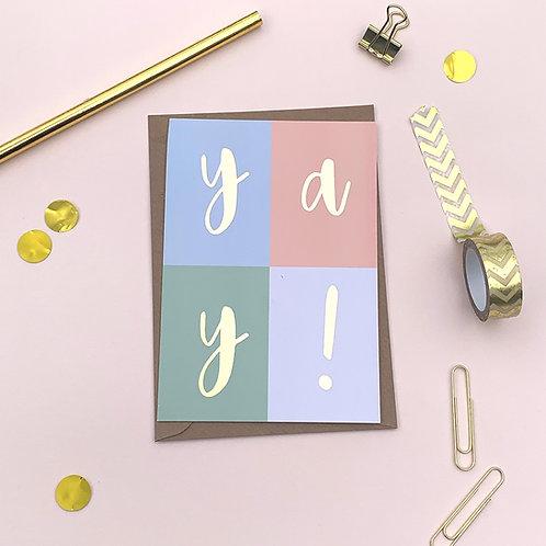6 YAY! - Congratulations Card, Wedding Card,