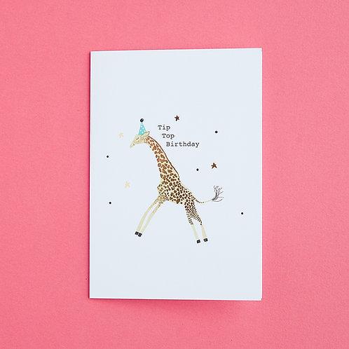 Tip Top Birthday - Birthday Card, Giraffe Card