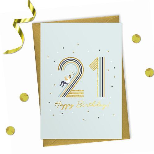 6 of 21 - Happy birthday Card, 21st birthday card