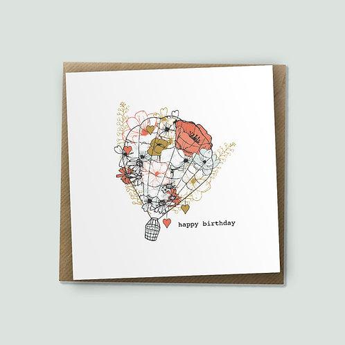 Flower Balloon - Happy Birthday Card, Hot Air Balloon, Floral Card