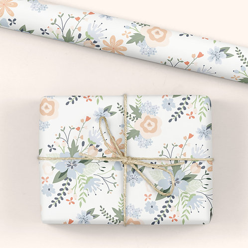 6 Floral Wrapping Paper / Gift Wrap - Blooming Marvellous - White