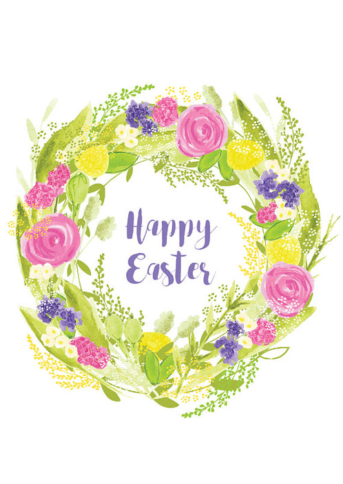 Happy Easter Cards Set Of Easter Cards Easter Wreath Cards