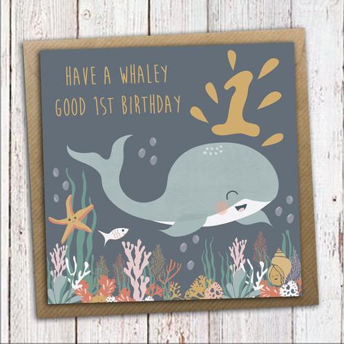 First Birthday Card Whale Birthday Card 1st Birthday Card