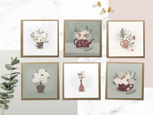 Flower Notecard Set - Set of 6 blank floral cards